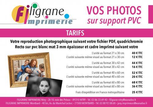 Tarifs : photos sur support PVC