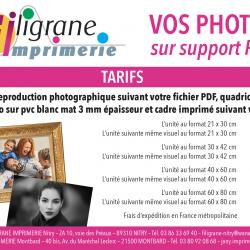 Tarifs : photos sur support PVC